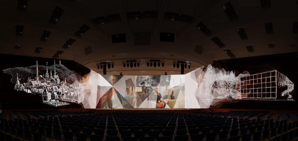 """270-Grad-Multivisionsshow des Künstlerkollektivs """"xenorama"""" bei der Eröffnungsgala 250 Jahre Goldstadt – Innovationen"""