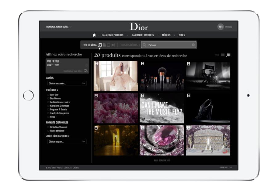 Digitale Verwaltung von Premium-Bildwelten: die CELUM-Benutzeroberfäche mit Dior-Inhalten