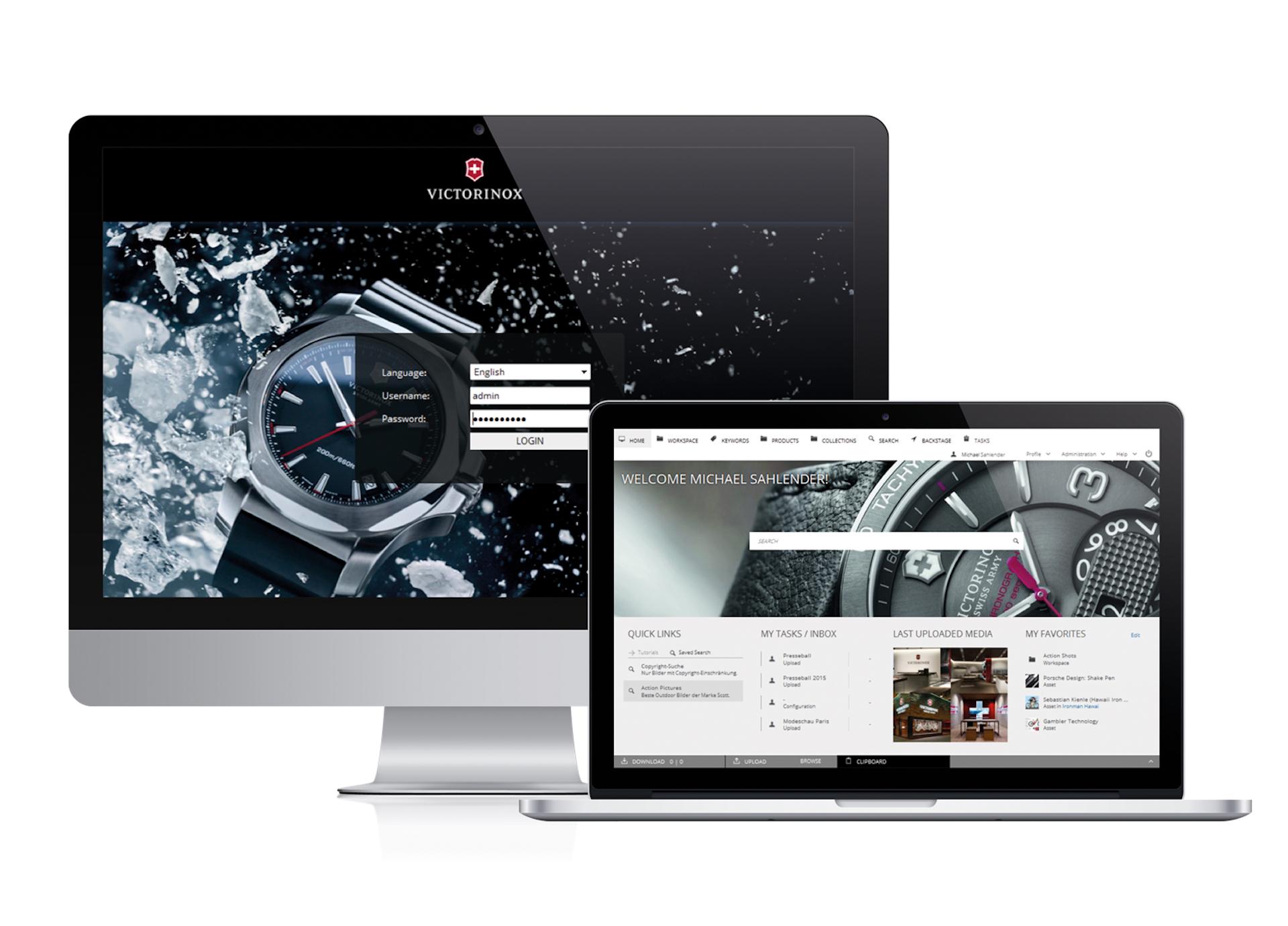 Digitale Verwaltung von Premium-Bildwelten: die CELUM-Benutzeroberfäche mit Victorinox-Inhalten